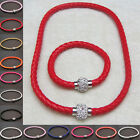 Mens Womens Wristband Leather Punk Magnetic Crystal Buckle Bracelet Necklace Set