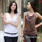 Korean Womens Drape OL Sleeveless Cotton Rivet Casual T-Shirt Blouse Tops S M L