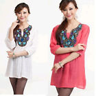 Hot Sale New Fashion Womens 3/4 Sleeve Casual Plus Size Top Blouse Shirt 5 Color