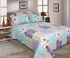 SUPERSOFT MULTI  LILLY CHECK BEDSPREAD PILLOWSHAMS AVAILABLE SINGLE DOUBLE KING