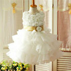 B999 Gold Christening Bridesmaid Flower Girls Party Dresses SIZE 2T 4T 6T 8T 10T