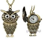 Hot Cute Cartoon Vintage Owl Alloy Bronze Small Necklace Pocket Watch Coat Chain