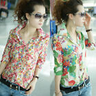 Summer Women Beach Chiffon T-Shirt Floral Flower Print Lapel Shirt Blouse Tops