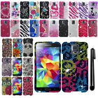 For Samsung Galaxy S5 G900 DIAMOND BLING CRYSTAL Hard Protector Case Cover + Pen