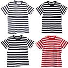 Fashion Mens Black White Red interphase Striped Stripey T-shirt Choose Colors LA