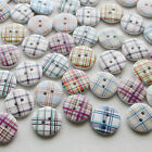 E585 18mm Line Wood Buttons Sewing Kid's Craft Mix Lots Scrapbooking 60/300pcs