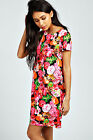 Boohoo Womens Ladies Kimi Neon Floral Shift Dress In Multi