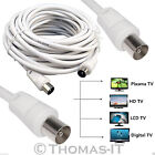 Digital Coaxial Aerial TV Male to Male Extension Wall Socket Plug Lead 35 to 50M