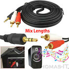 3.5mm Stereo Jack to 2 RCA Twin Phono Audio Cable Lead Gold PC TV Aux 1m 2m 3m