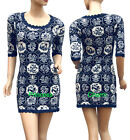 China Print Knit Mini Dress Jumper Top Blue/Black 1/2 Sleeve Size 8 10 12 14 New