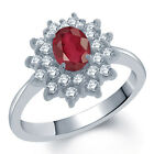 1.72 Ct Oval Natural African Red Ruby 18K White Gold Ring