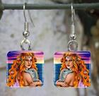 Handmade Glass Earrings Square Mermaid 13 dolphin sunset art painting L.Dumas