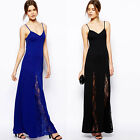 Sexy V-Neck Womens Slim Long Maxi lace Gown Evening Cocktail Party Dress XS-XXL