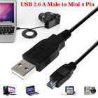 50CM 1M 2M 3M USB 2.0 A Male to Mini 4 Pin Digital Camera MP3 MP4 Laptop Cable