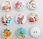E370 Upick 30MM Christmas Santa Wood Buttons Sewing Notions DIY Crafts Lots