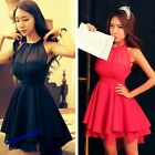 Ladies Backless Sleeveless Chiffon Party Evening Short Mini Sexy Dress Stylish