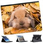 Cute Furry Cuddly Bunny Rabbit In Leaves Folio Leather Case For iPad 2, 3 & 4