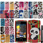 For Kyocera Rise C5155 Design DIAMOND BLING CRYSTAL HARD Case Phone Cover + Pen