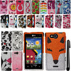 For LG Lucid 4G VS840 Design DIAMOND BLING CRYSTAL HARD Case Phone Cover + Pen