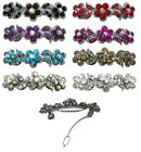 Bella Flower Barrette Hair Clip w. French Clasp and Sparkling Stones U86250-1338