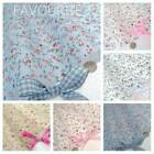 MOLLY - SMALL FLORAL POLY COTTON FABRIC vintage chic PINK BLUE CREAM BEIGE