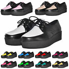 Ladies Platform Lace PU Women Flats Creepers Punk Soled Mixed Color Comfor Shoes