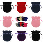 OVAL VELVET Jewellery Drawstring Gift Bag POUCHES - 6 COLOURS, 3 SIZES