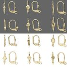 2 Gold Plated Hinged Leverback Earring Findings with Loop & Lever Back