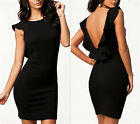 Ruffle V back sexy bodycon evening bandage prom cocktail pencil stretchy dress