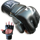 Rex Leather MMA Gloves Grappling Punch Gloves  Cage Fight Gloves Black-Grey(468)