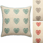 Catherine Lansfield Vintage Hearts Embroidered Shabby Chic 45x45cm Cushion Cover