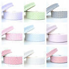 BY THE METRE - 18mm or 30mm  WHITE WITH DOT - BIAS BINDING spot trim folded