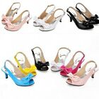 Plus Size Women's Peet Toe Kitten Heels Patent  Bow Knot Slingback Shoes Sandals
