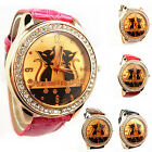 VOGUE WOMENS MENS CRYSTAL DIAL SEXY CATS LEATHER BAND QUARTZ ANALOG WRIST WATCH