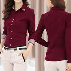 Fashion Women Long Sleeve OL Shirt Turn-down Collar Button Blouse Tops 2 Colors
