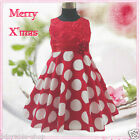 R3118 Kid Minnie Mouse Reds Polkadots Wedding Girls Party Dresses SZ 2 4 6 8 10Y