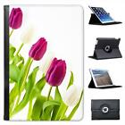 Pink & White Tulips All In A Row Folio Leather Case For iPad Mini & Retina