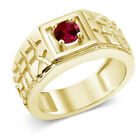0.60 Ct Round Red VS Created Ruby 925 Yellow Gold Plated Silver Men's Ring