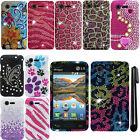 For LG Optimus Zone 2 Fuel L34C VS415PP DIAMOND BLING HARD Case Phone Cover +Pen