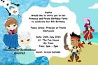 Cute Kids Personalised Birthday Party Invitations Princess and Pirate Invites
