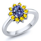 1.45 Ct Oval Tanzanite Blue Mystic Topaz Yellow Sapphire 925 Silver Ring
