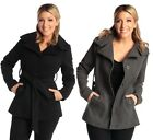 Womens Belted Jacket Wool Coat Button Up Blazer Funnel Neck Alpine Swiss Parka