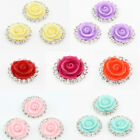 New 10Pcs Round Rhinestone Edge Rose Design Plastic Sewing Buttons Flatback 16mm