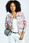 Boohoo Womens Ladies Caitlyn Tropical Floral Print Bomber Jacket In Multi