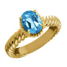 2.20 Ct Oval Swiss Blue Topaz 14K Yellow Gold Ring