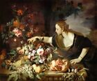 WOMAN GRASPING FRUIT TABLE FOOD FLOWERS 1689 PAINTING BY ABRAHAM BRUEGHEL REPRO