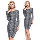 VINTAGE 1950s Womens Long Sleeve Stretch Work Office Party Cocktail Pencil Dress
