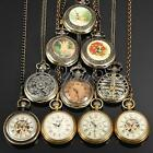 Vintage Bronze Mechanical Quartz Pocket Watch Necklace Chain Steampunk Antique