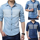 New Mens' Fashion Slim Fit Denim Long Sleeve Shirt Washed Blue 3 Colors MCL325