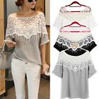 Sexy Girls Womens Hollow Lace Crochet Batwing TopShort Sleeve T Shirt Blouse